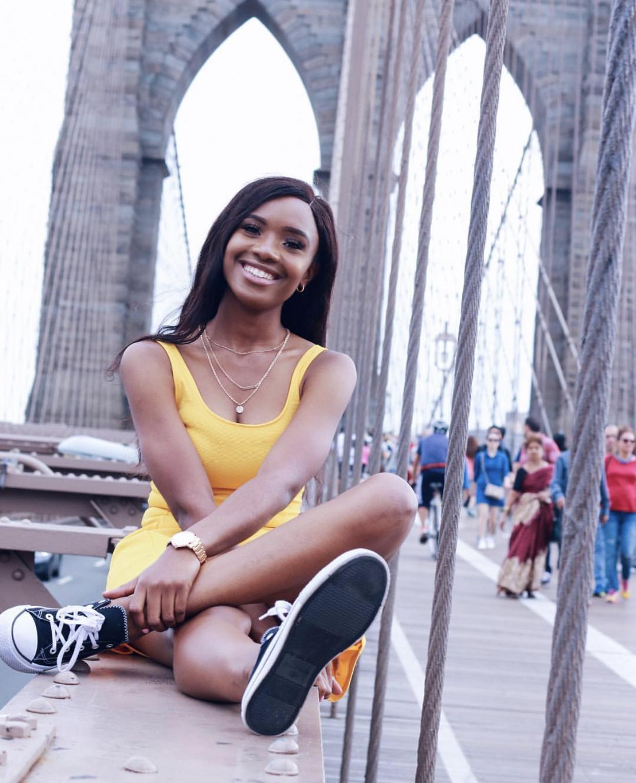 valerie egbuniwe- brooklyn bridge in h&m yellow dress