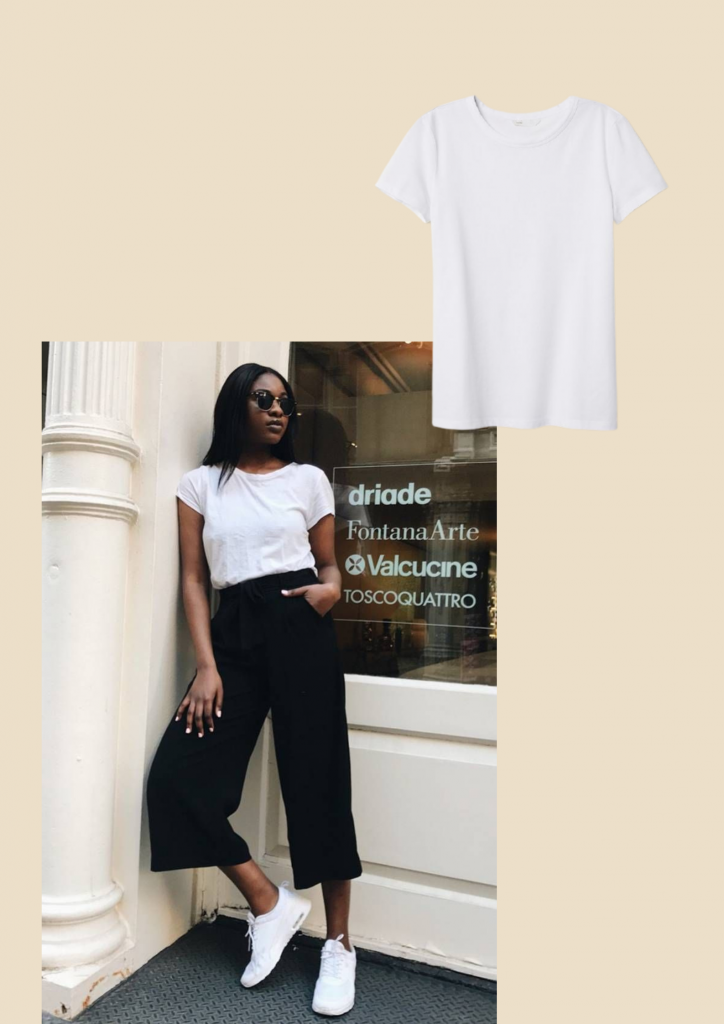 white tee, basic wardrobe essentials for every woman